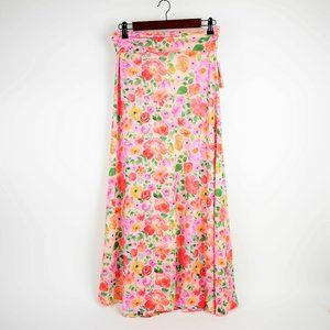 LuLaRoe Pink & orange floral stretch maxi skirt